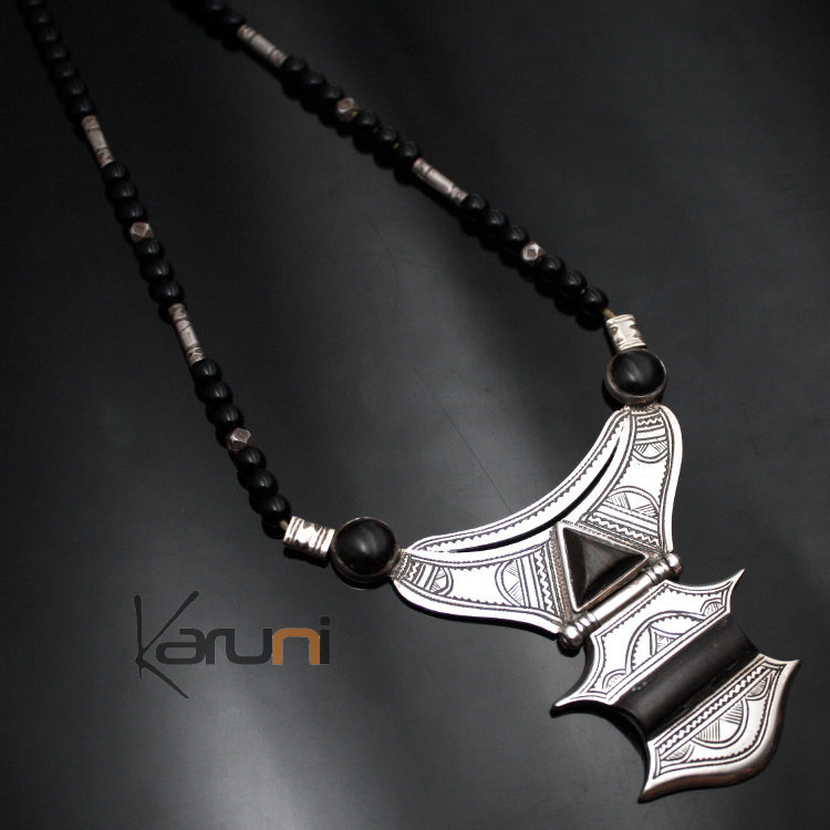 Ethnic necklace sterling silver jewelry ebony black onyx tuareg ethnic necklace sterling silver jewelry ebony black onyx tuareg tribe design karuni 01 mozeypictures Images