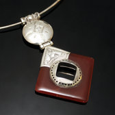 African Necklace Pendant Sterling Silver Ethnic Jewelry Diamond Red Agate Tuareg Tribe Design 02