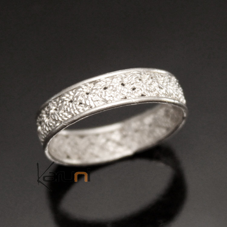 Ethnic Engagement Ring Wedding Jewelry MenWomen Braided 750 Silver