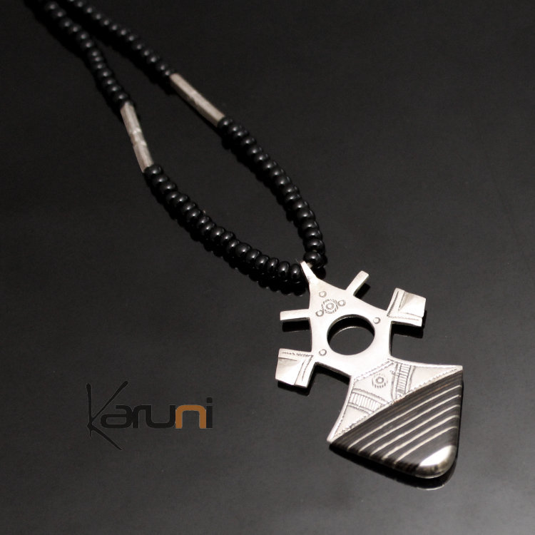Ethnic southern cross necklace sterling silver ebony jewelry large ethnic southern cross necklace sterling silver ebony jewelry large black onyx beads from tahouha niger tuareg tribe design 16 mozeypictures Images