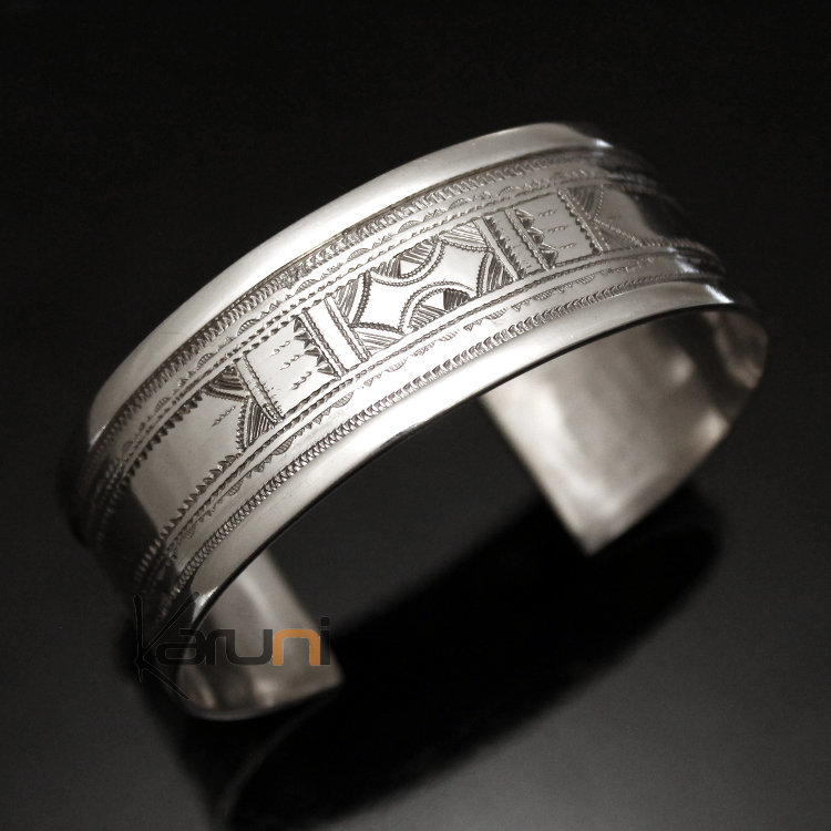 Ethnic Wide Bracelet Sterling Silver Jewelry Large Flat Engraved ...