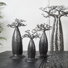 Jewelry Tree Baobab design jewelry holder 15 cm recycled metal Madagascar