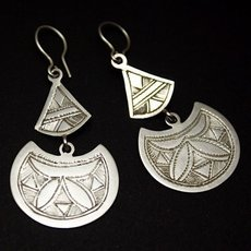 Ethnic African Earrings Sterling Silver Jewelry Engraved Leaf Berber Tuareg Tribe Design 14