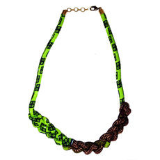 African Jewelry Fabric Chain Necklace Design Toutenchainette 50 cm Green/Brown TOUBAB PARIS