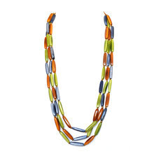Organic Jewelry Multi Row Necklace Beads Vegetable Ivory Seeds Design Cariamanga Green Orange Blue Grey Tagua and Co