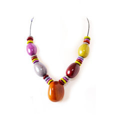 Organic Jewelry Chain Necklace Beads Vegetable Ivory Seeds Design Cristy Multicolor Otono Tagua and Co