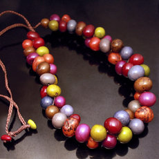 Organic Jewelry Chain Necklace Cluster Beads Vegetable Ivory Seeds Design Anzu Multicolor Otono Tagua and Co