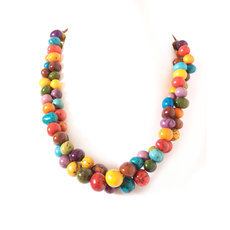 Organic Jewelry Chain Necklace Cluster Beads Vegetable Ivory Seeds Design Anzu Multicolor Tagua and Co