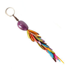 Organic Jewelry Keychain Beads Vegetable Ivory Seeds Trio Design Accessory Flame Multicolor Purple Tagua and Co