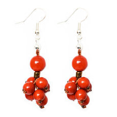 Organic Jewelry Drop Earrings Vegetable Ivory Seeds Small Beads Design Ibarra Red Tagua and Co