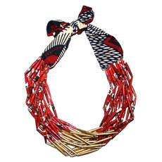 Ethnic African Jewelry Fashion Beaded Necklace Quazi Design Mahatsara Queen Red Golden Beads