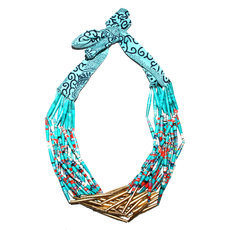 Ethnic African Jewelry Fashion Beaded Necklace Quazi Design Mahatsara Queen Blue Turquoise Golden Beads