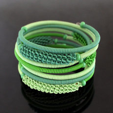 Tribal Jewelry Bracelet Bangles Fashion Spiral Zulu African Design Telephone Wire Mahatsara 5 cm Light Green