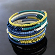 Tribal Jewelry Bracelet Bangles Fashion Spiral Zulu African Design Telephone Wire Mahatsara 5 cm Green Bronze Blue White Cream