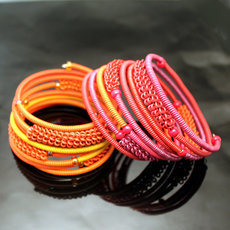 Tribal Jewelry Bracelet Bangles Fashion Spiral Zulu African Design Telephone Wire Mahatsara 5 cm Red/Purple pink/Orange