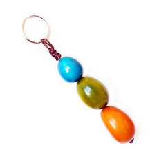 Organic Jewelry Keychain Beads Vegetable Ivory Seeds Trio Design Accessory Orange Green Blue Tagua and Co