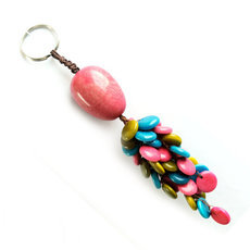Organic Jewelry Keychain Beads Medallion Vegetable Ivory Seeds Trio Design Accessory Pastillas Pink Green Turquoise Tagua and Co