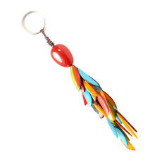 Organic Jewelry Keychain Beads Vegetable Ivory Seeds Trio Design Accessory Flame Red MulticolorTagua and Co