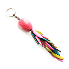 Organic Jewelry Keychain Beads Vegetable Ivory Seeds Trio Design Accessory Flame Pink Green Turquoise Tagua and Co