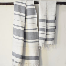 Fouta Beach Bath Towel Woven Cotton Handcrafted Ethiopia Design Ivory White Grey Strips Nile Dana Esteline