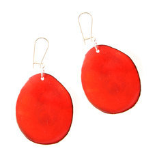 Organic Jewelry Teardrop Earrings Vegetable Ivory Seeds Petal Design Red Tagua and Co