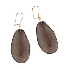 Organic Jewelry Teardrop Earrings Vegetable Ivory Seeds Petal Design Grey Tagua and Co