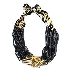 Ethnic African Jewelry Fashion Beaded Necklace Quazi Design Mahatsara Queen Black Golden Beads
