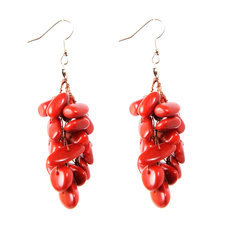 Organic Jewelry Cluster Earrings Vegetable Ivory Seeds Small Beads Design Carmen Red Tagua and Co