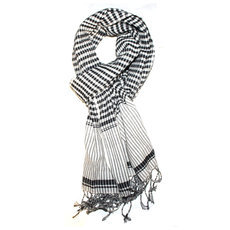 Scarf Stole Krama Cotton Cambodia Design Men/Women Checks Plaid Channa Sarany Shop Black White 170x50 cm