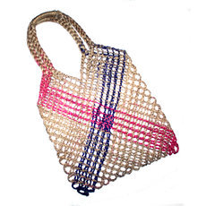 Tote Bag Crochet Work Shopping String Bag Trendy Cambodia Design Natural Purple Pink Sarany Shop
