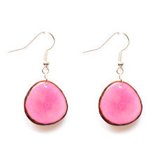 Organic Jewelry Teardrop Earrings Vegetable Ivory Seeds Petal Design Pétalito Pink Tagua and Co