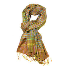 Scarf Stole Silk Krama Cambodia Design Small Checks Plaid Brown/Pink/Green Mony Sarany Shop 170x50 cm