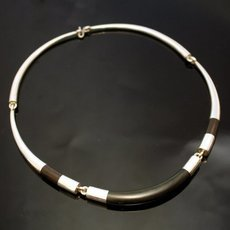 Ethnic Choker Necklace Jewelry Sterling Silver Ebony Smooth Round Torque Tuareg Tribe Design 02