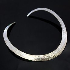 Ethnic Jewelry Choker Necklace in Sterling Silver Large Hammered Tuareg Tribe Design Karuni