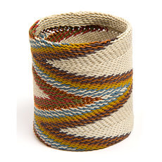 Tribal Jewelry Cuff Bracelet Bangle Fashion Large Zulu African Design Telephone Wire Mahatsara 7 cm White Multicolor Light
