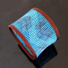 Tribal Jewelry Bold Cuff Bracelet Trendy Glass Beads African Design Zulu Copper Mahatsara 5,5 cm Blue Turquoise
