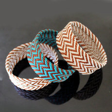 Tribal Jewelry Bold Cuff Bracelet Trendy African Design Zulu Telephone Wire Copper Mahatsara 3 cm White