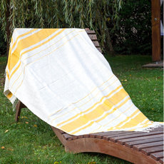 Fouta Beach Bath Towel Woven Cotton Handcrafted Ethiopia Design Ivory White Yellow Strips Nile Dana Esteline