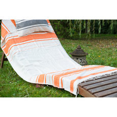 Fouta Beach Bath Towel Woven Cotton Handcrafted Ethiopia Design Ivory White Orange Tangerine Strips Nile Dana Esteline