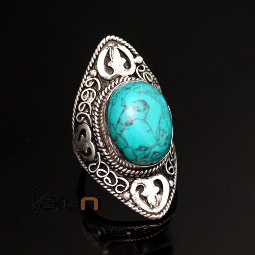 jewelry ethnical silver Turquoise ring 01