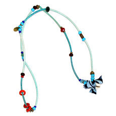 African Jewelry Chain Necklace Bracelet Design Nyama-Nyama Jokko Blue/Turquoise TOUBAB PARIS