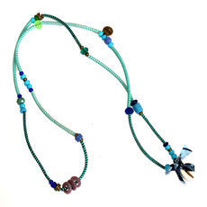 African Jewelry Fabric Chain Necklace Bracelet Design Nyama-Nyama Jokko Blue/Turquoise/Purple TOUBAB PARIS