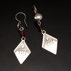 Ethnic Earrings Sterling Silver Jewelry Diamond Pendants Red Beads Tuareg Tribe Design 67