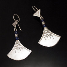 Ethnic Earrings Sterling Silver Jewelry Lotus Blue Shat-Shat Tuareg Tribe Design 43 5,5 cm