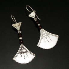 Ethnic Earrings Sterling Silver Jewelry Lotus Red Shat-Shat Tuareg Tribe Design 43 5,5 cm