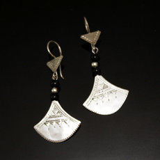 Ethnic Earrings Sterling Silver Jewelry Lotus Black Shat-Shat  Tuareg Tribe Design 42 5 cm