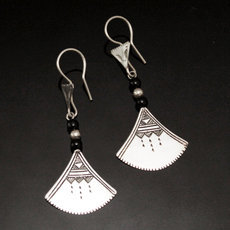 Ethnic Earrings Sterling Silver Jewelry Lotus Black Shat-Shat Tuareg Tribe Design 43 5,5 cm