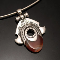 African Necklace Pendant Sterling Silver Ethnic Jewelry Goddess Head Red Agate Oval Tuareg Tribe Design 39