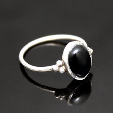 Ethnic Ring Sterling Silver Thin Jewelry Black Onyx Oval Tuareg Tribe Design 34