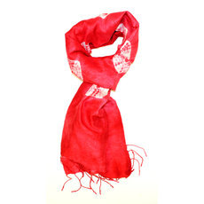 Scarf Stole Krama Silk Tie and Dye Cambodia Design Red Ambel Sarany Shop 160 cm x 45 cm